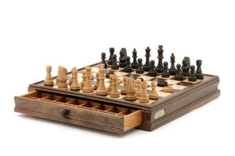 "Quality DAL ROSSI Wooden Chess and Checkers Family Board Game 15""   With Draw"