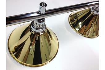 Pool Snooker Billiard Table Lighting - LARGE Chrome Light (4 x Brass Shades)