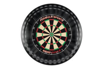 Formula Micro Band 3 Dart Board and BLACK Dartboard Surround and Target Corona Light with Darts