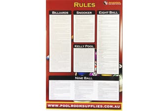Pool Snooker Billiard Eight Ball Devils Pool American Pool Table RULE CHART