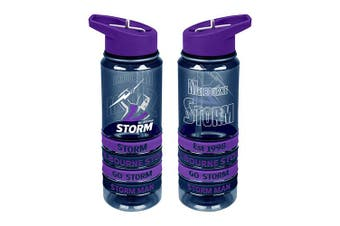 Melbourne Storm NRL Tritan Drink Water Bottle with Wrist Bands