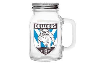 NRL Canterburry Bulldogs TEAM Glass Mason Jar With Handle