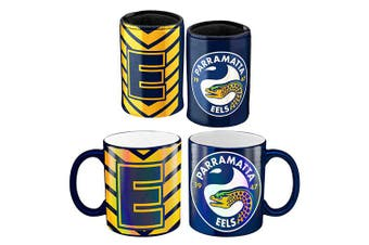 Parramatta Eels NRL Metallic Can Cooler and Coffee Mug Cup Gift Pack