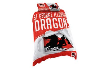St George Illawarra Dragons NRL SINGLE Bed Quilt Doona Duvet Cover and Pillow Case Set