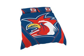 Sydney Roosters NRL DOUBLE Bed Quilt Doona Duvet Cover & Pillow Cases Set NEW