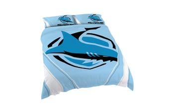 Cronulla Sharks NRL DOUBLE Bed Quilt Doona Duvet Cover & Pillow Cases Set NEW