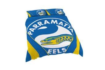Parramatta Eels NRL QUEEN Bed Quilt Doona Duvet Cover & Pillow Cases Set NEW