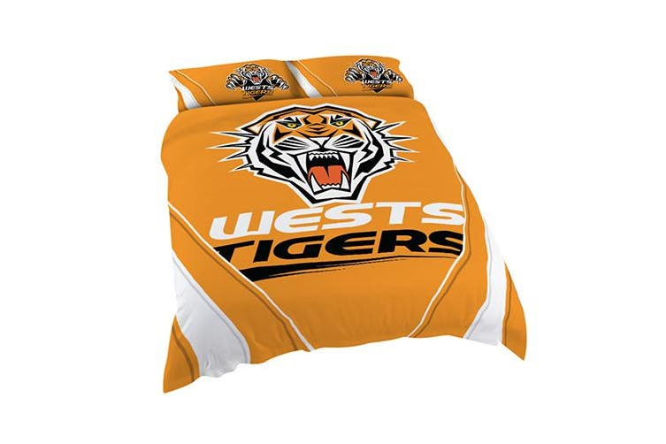 Wests Tigers NRL KING Bed Quilt Doona Duvet Cover & Pillow Cases Set NEW