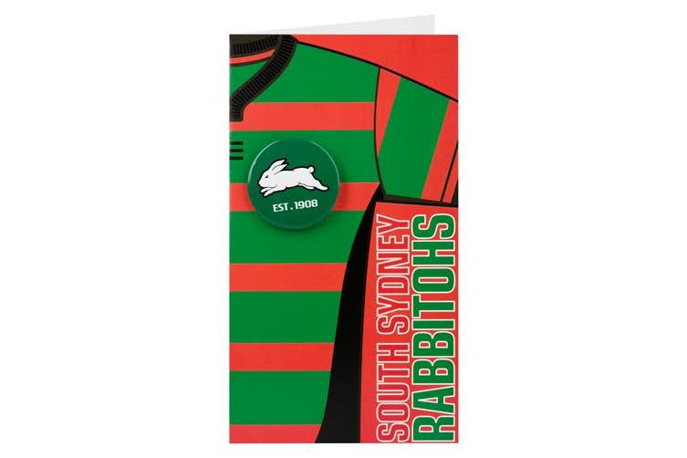 South Sydney Rabbitohs Nrl Gift Card With Badge Birthday Christmas Mothers Day Fathers Day Kogan Com