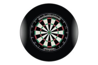 Pro Star Genuine Bristle Dart Board and BLACK Dartboard Surround with Darts
