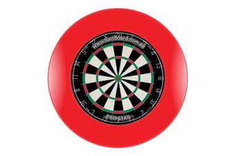 Pro Star Genuine Bristle Dart Board + RED Dartboard Surround + Darts