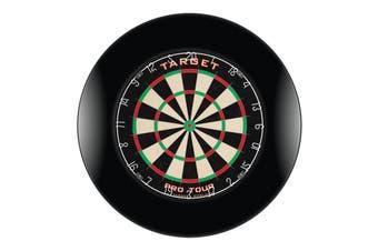 Target Pro Tour Dart Board and BLACK Dartboard Surround with Darts