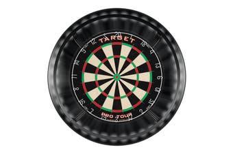 Pro Tour Dart Board and BLACK Dartboard Surround and Target Corona Light with Darts