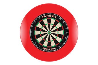 Target Pro Tour Dart Board + RED Dartboard Surround + Darts