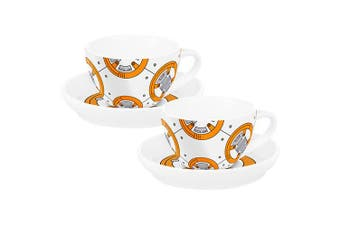 Star Wars BB8 Set of 2 Porcelain Tea Cups with Saucers