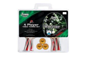 Formula WARRIOR 4 Player Table Tennis Ping Pong Set 4 Bats 3 Balls