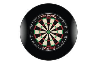 TEX Pro Genuine Bristle Dart Board and BLACK Dartboard Surround with Darts
