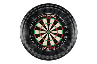 TEX Pro Genuine Bristle Dart Board and BLACK Dartboard Surround and Target Corona Light with Darts