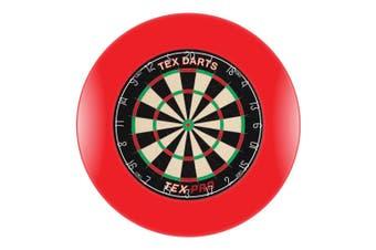 TEX Pro Genuine Bristle Dart Board + RED Dartboard Surround + Darts