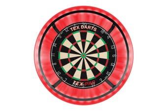 TEX Pro Genuine Bristle Dart Board + RED Dartboard Surround + Target Corona Light + Darts