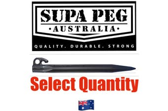 Tent Pegs SUPA PEG Poly Polypropylene Heavy Duty 300mm BLACK