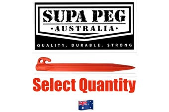 Tent Pegs SUPA PEG Poly Polypropylene Heavy Duty 300mm ORANGE