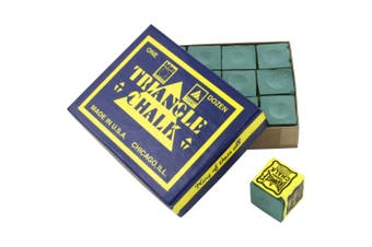Quality TRIANGLE Pool Snooker Billiard Cue Tip Table Chalk Box Spruce GREEN