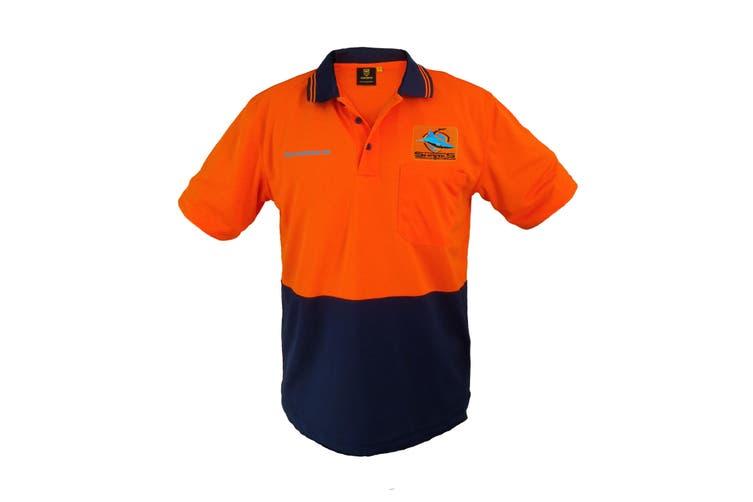 Cronulla Sharks NRL Short Sleeve HI VIS Polo Work Shirt Orange Navy - Medium
