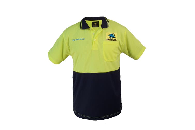 Cronulla Sharks NRL Short Sleeve HI VIS Polo Work Shirt Yellow Navy - Large