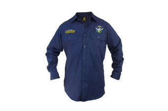 Canberra Raiders NRL LONG Sleeve Button Work Shirt NAVY - 8X Large
