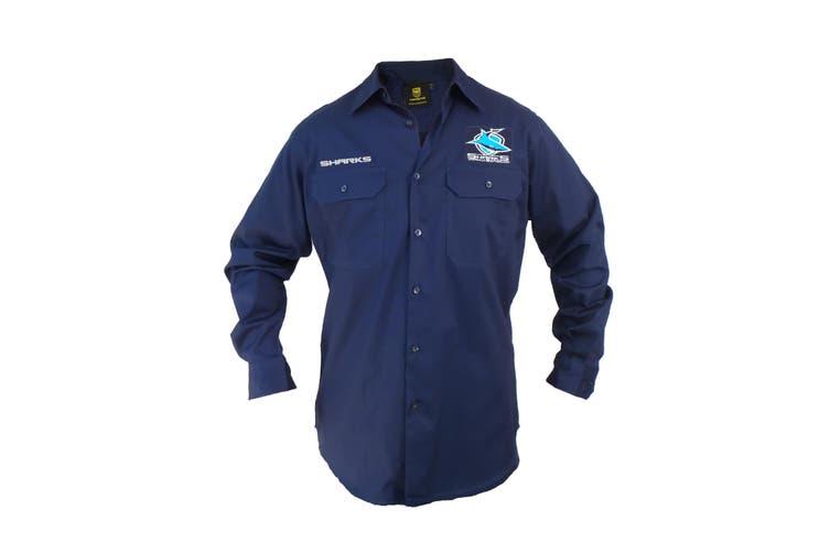 Cronulla Sharks NRL LONG Sleeve Button Work Shirt NAVY - Small