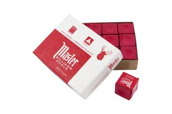 Master Pool Snooker Billiard Cue Tip Chalk Red Box of 12