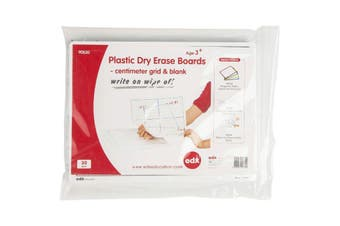 EDX EDUCATION PLASTIC DRY ERASE BOARDS Centimeter Grid & Blank 230 x 300mm Pack of 30