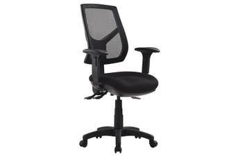 RIO HIGH BACK WITH HEIGHT ADJUSTABLE ARMS Task Chair METRO BLACK FABRIC