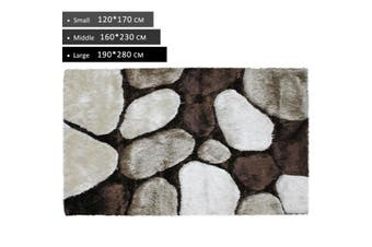 OliandOla 3D Thick Soft Shag Rug In Beige Brown