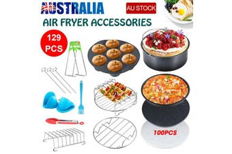 "129 PCS 8"" Air Fryer Frying Cage Dish Baking Pan Rack Pizza Tray Pot Accessories"
