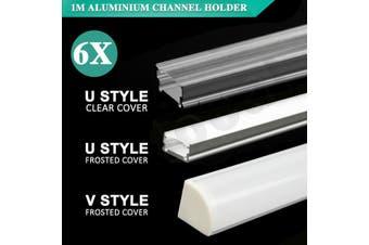 6Pcs 1M Aluminium Channel Holder U/V Style For LED Strip Light Bar Lamp