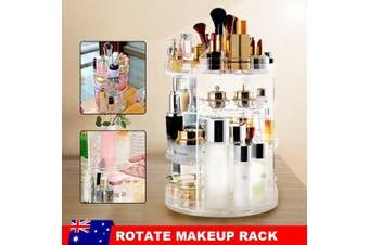360° Rotating Acrylic Makeup Organiser Clear Cosmetics Brush Holder Storage Box