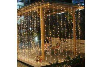 300/600 Led Curtain Fairy Lights Wedding Indoor Outdoor Party Christmas Light(WHITE-300LED-3MX3M)