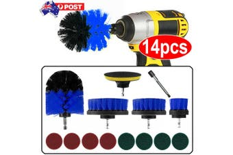 14PC Drill Brush Tub Clean Electric Grout Power Scrubber Cleaning Combo Tool Kit (Blue)