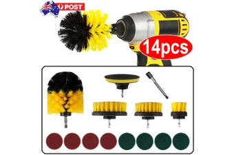 14PC Drill Brush Tub Clean Electric Grout Power Scrubber Cleaning Combo Tool Kit (Yellow)