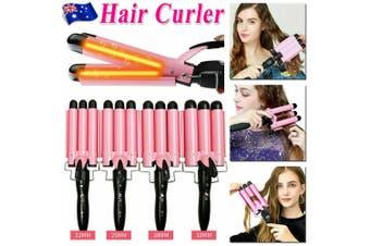 Triple 3 Barrel Ceramic Hair Curler Curling Iron Salon Styler Crimper Waver Hot (Pink 32mm)