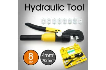 8 Ton Wire Force Hydraulic Terminal Crimper Cable Crimping Tool 9 Dies 4-70mm