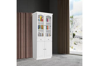 French Glass Display Cabinet Bookcase with 4 Doors - White