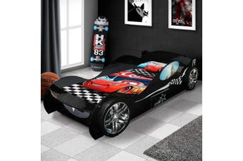 New Batman's Kids Racing Car Bed Racer Black Colour With Drawer & 3D Wheel