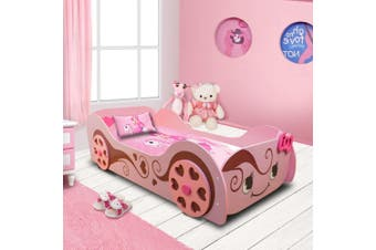 Cinderella Kids Racing Car Bed For Girls With Wooden Heart Shape Wheel In Pink