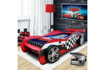 2018 Unique Design For Kids Racing Racer Car Night Bed With Drawer 3D Wheel in Red Colour