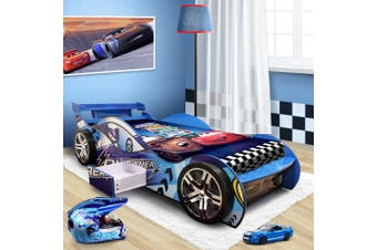 """Dreamer"" Children Toddler Kids Racing Racer Car Bed For Boy Boys in Blue"