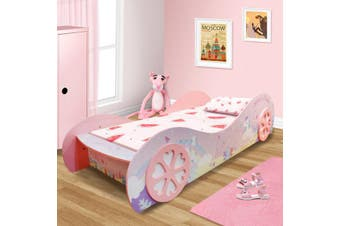 1.0 Unicorn Kids Children Girls Car Bed With Wheel In Pink High Gloss Finish