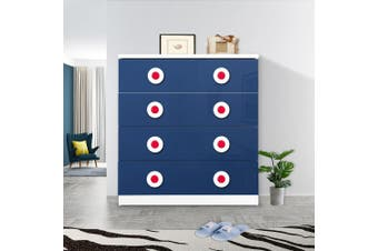 OliandOla Blue Car Style Drawer Chest With 4 Large Size Drawer